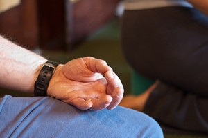 Photo: a hand mudra during meditation