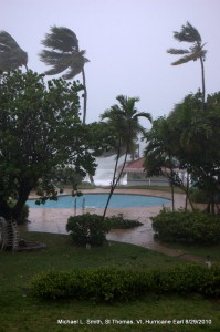 Photo: swimming pool and palms trees blown by hurricane winds