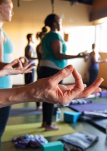 Photo: yoga class with fingers (thumb-index) in jnana mudra