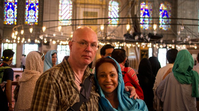 Teresa and I enter the sacred space of the Sultan Ahmed Mosque (tourists know it as the Blue Mosque) in Istanbul, Turkey